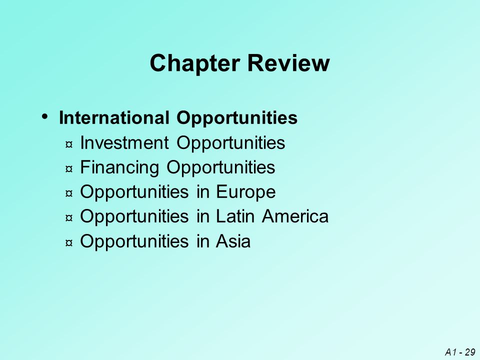 Chapter Review International Opportunities Investment Opportunities