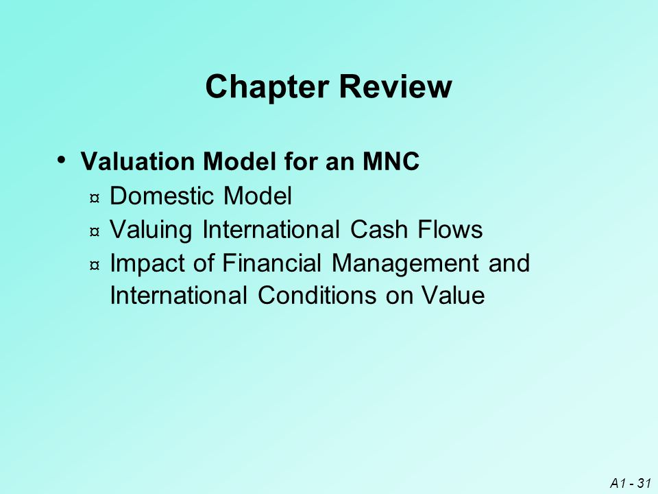 Chapter Review Valuation Model for an MNC Domestic Model