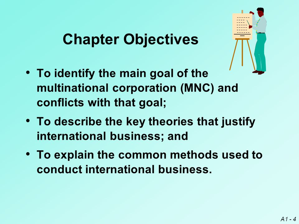 Chapter Objectives To identify the main goal of the multinational corporation (MNC) and conflicts with that goal;
