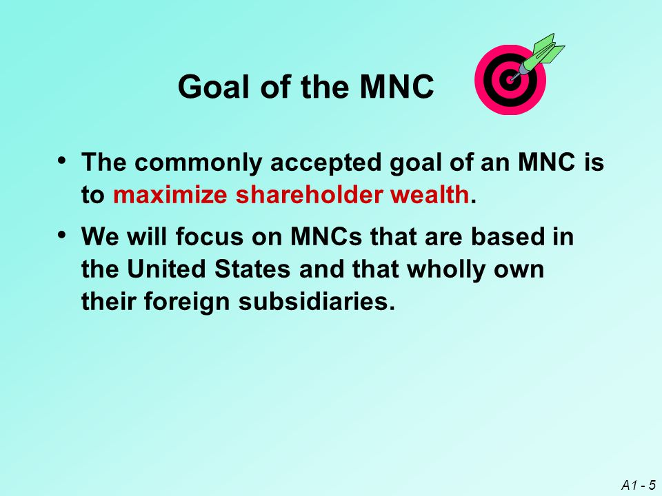 Goal of the MNC The commonly accepted goal of an MNC is to maximize shareholder wealth.