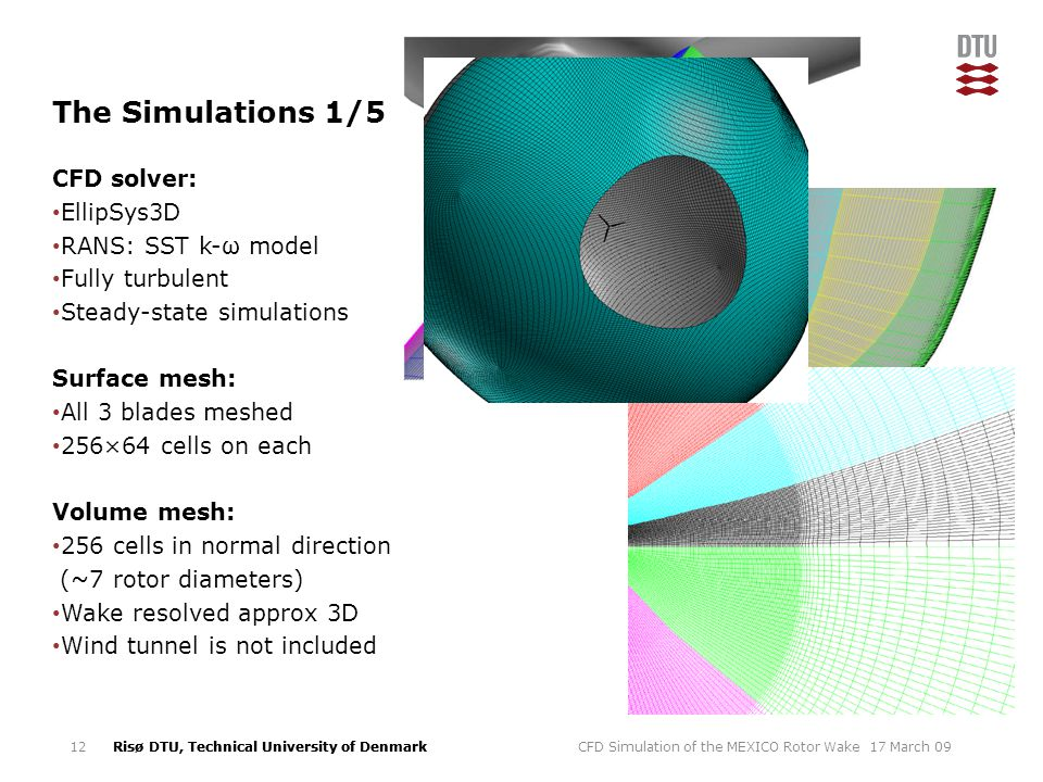 The Simulations 1/5 CFD solver: EllipSys3D RANS: SST k-ω model