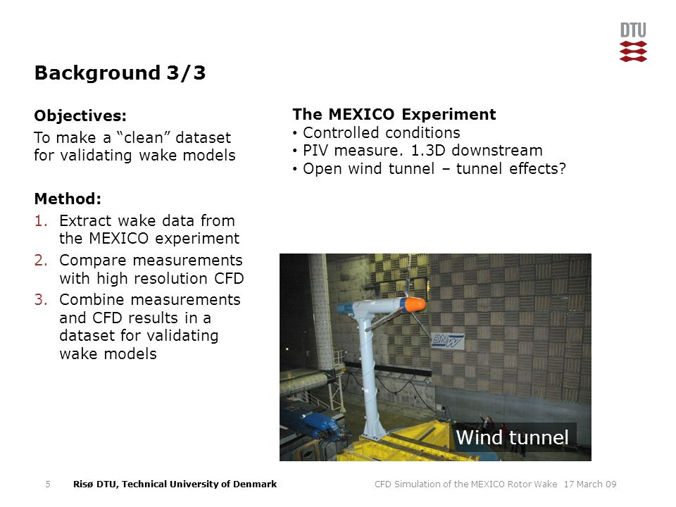 Background 3/3 Wind tunnel The MEXICO Experiment Objectives: