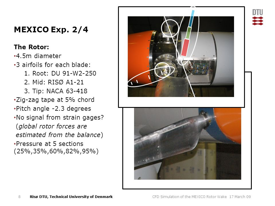 MEXICO Exp. 2/4 The Rotor: 4.5m diameter 3 airfoils for each blade: