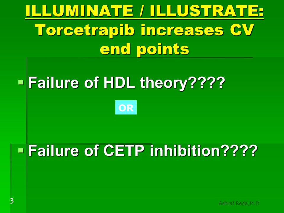 ILLUMINATE / ILLUSTRATE: Torcetrapib increases CV end points