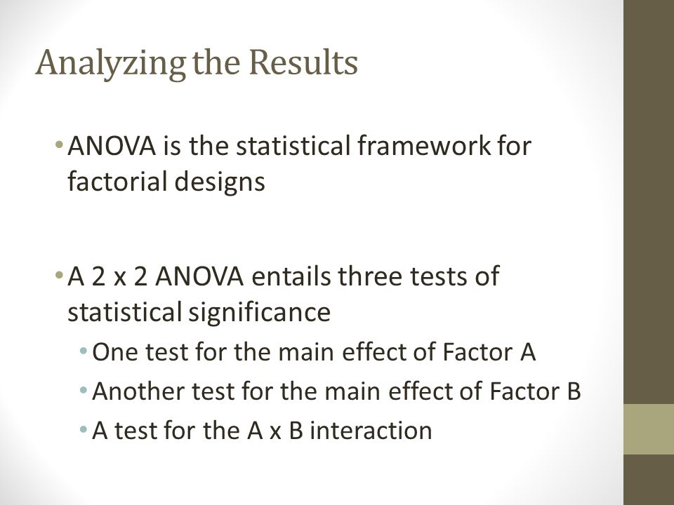 Analyzing the Results ANOVA is the statistical framework for factorial designs. A 2 x 2 ANOVA entails three tests of statistical significance.