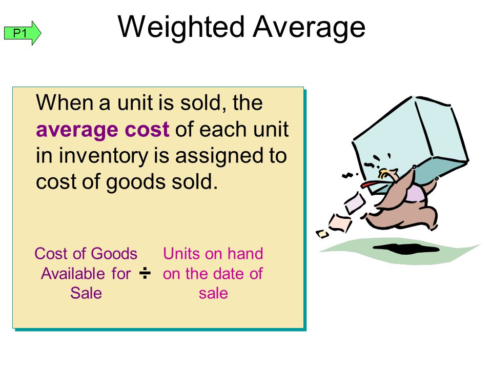 Weighted Average P1. When a unit is sold, the average cost of each unit in inventory is assigned to cost of goods sold.