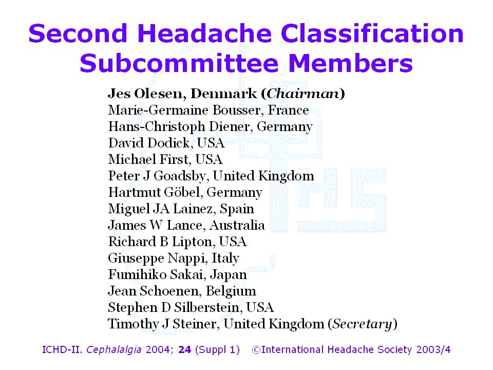 Second Headache Classification Subcommittee Members