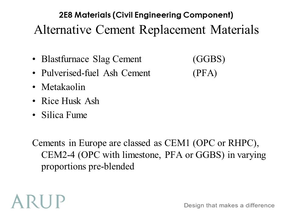 Alternative Cement Replacement Materials