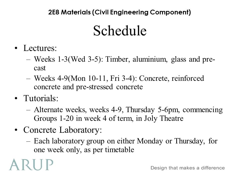 Schedule Lectures: Tutorials: Concrete Laboratory: