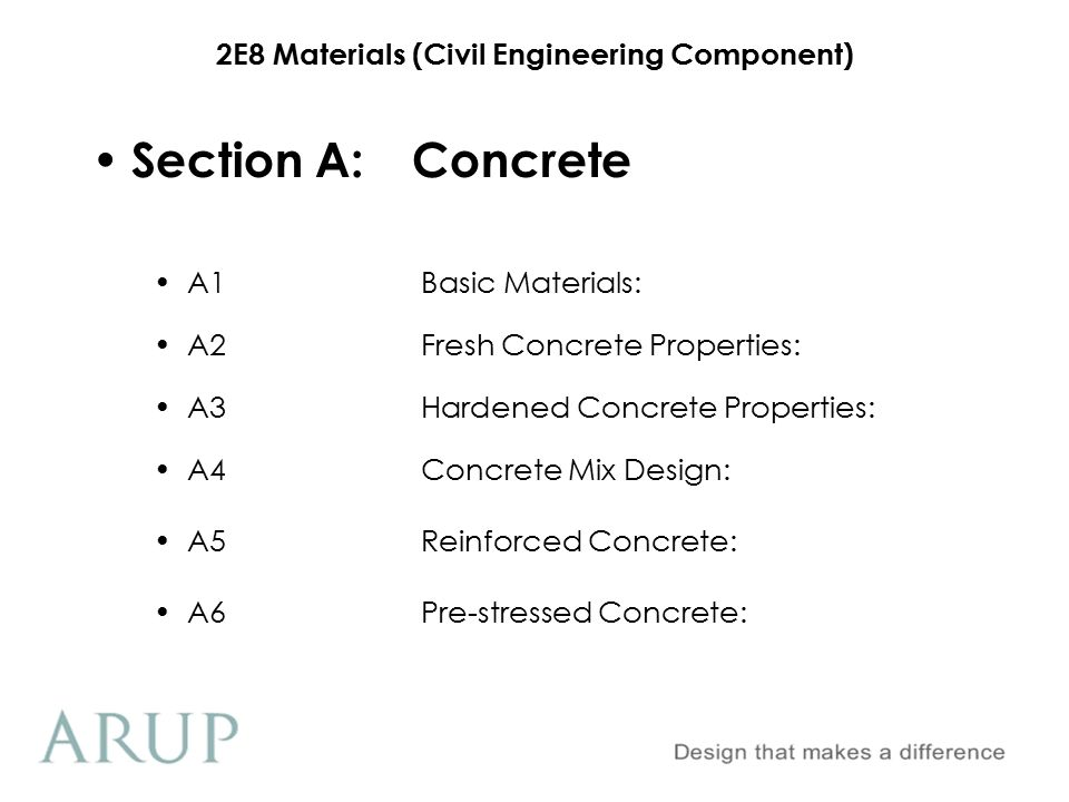 Section A: Concrete A1 Basic Materials: A2 Fresh Concrete Properties: