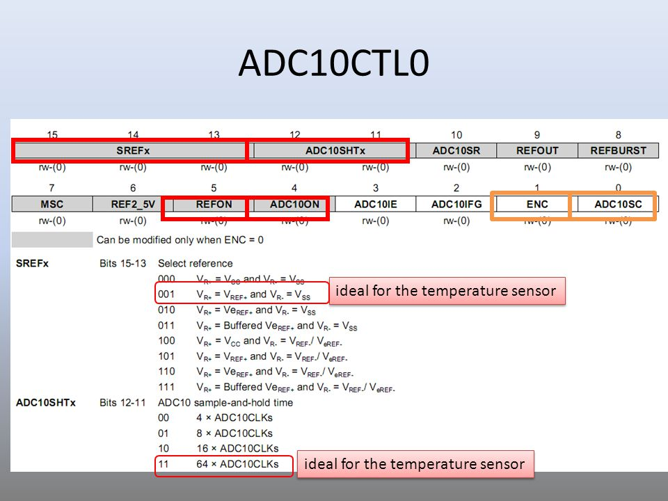 ADC10CTL0 ideal for the temperature sensor