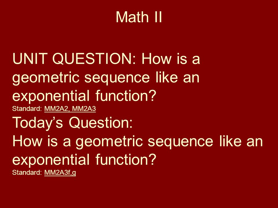 How is a geometric sequence like an exponential function