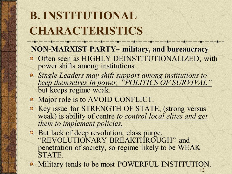 B. INSTITUTIONAL CHARACTERISTICS