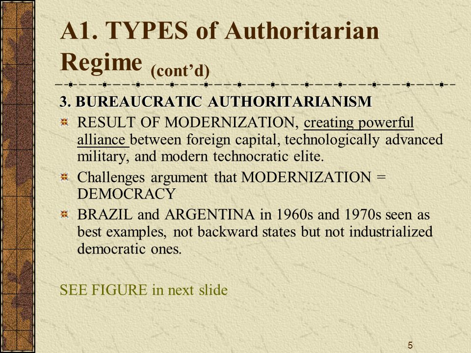 A1. TYPES of Authoritarian Regime (cont'd)