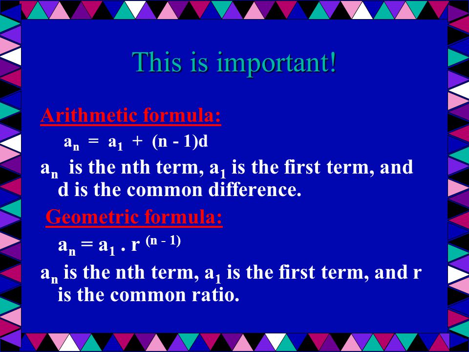 This is important! Arithmetic formula: