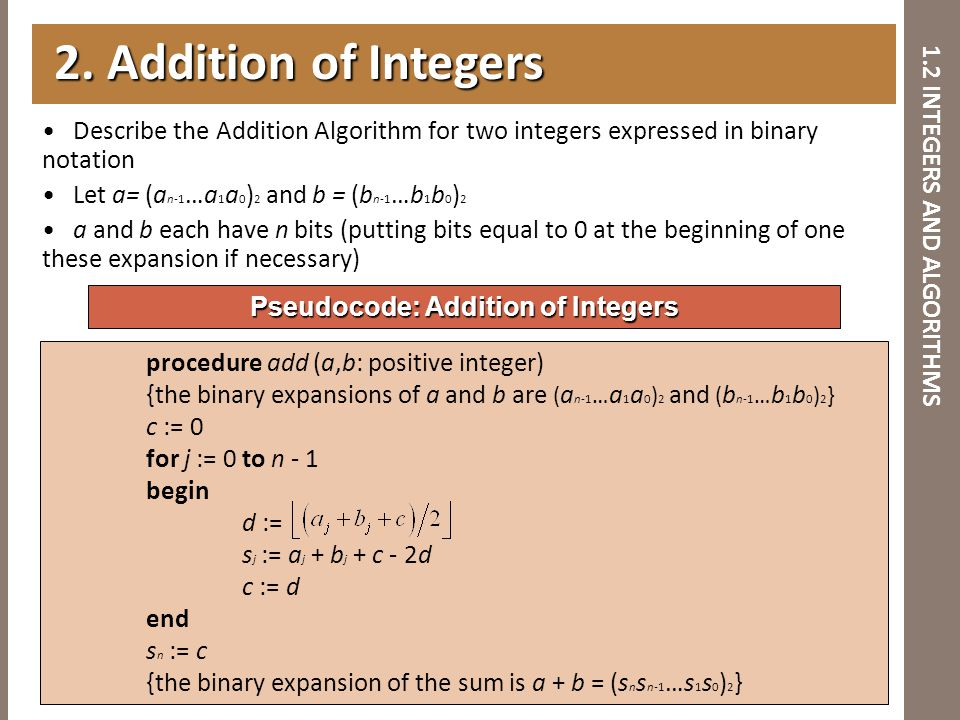 1.2 INTEGERS AND ALGORITHMS