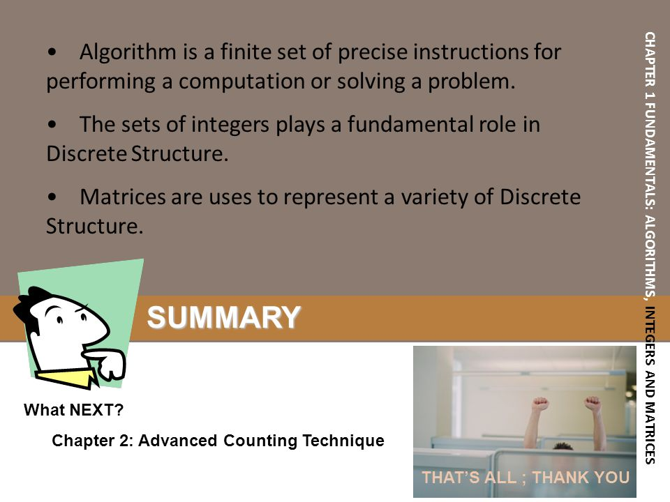 CHAPTER 1 FUNDAMENTALS: ALGORITHMS, INTEGERS AND MATRICES