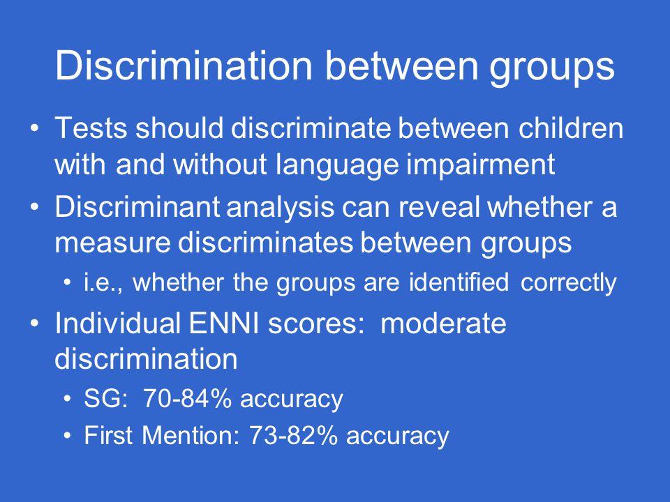 Discrimination between groups