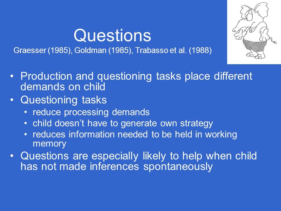 Questions Graesser (1985), Goldman (1985), Trabasso et al. (1988)