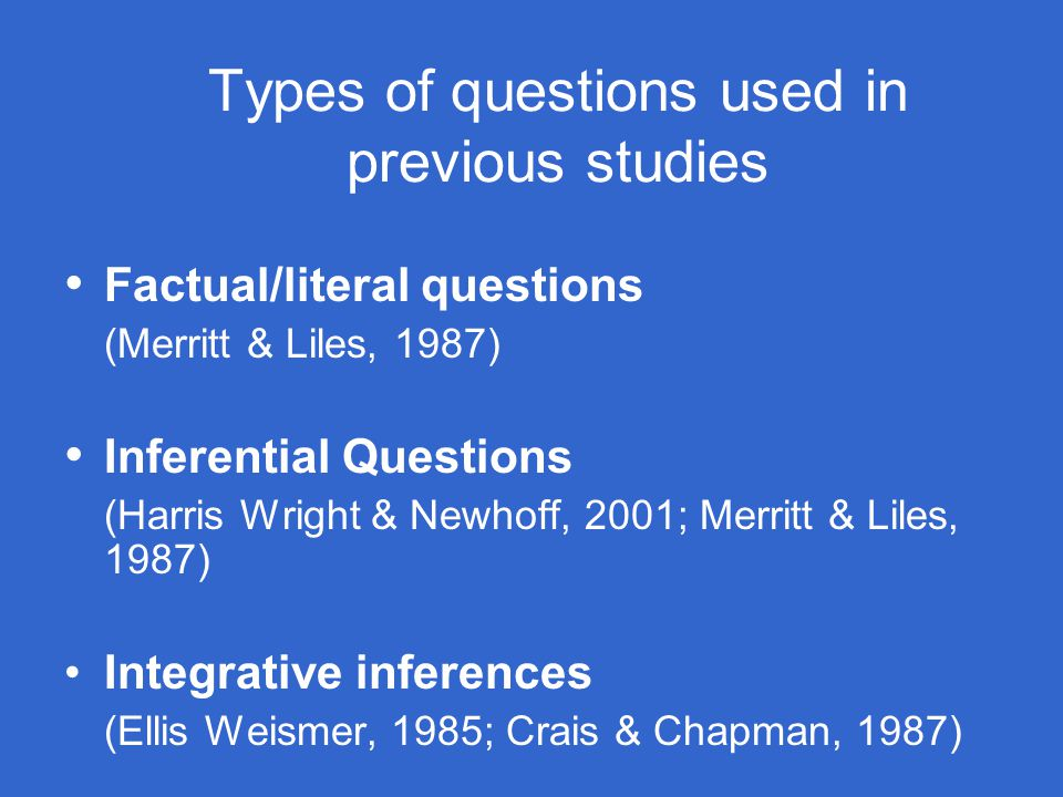 Types of questions used in previous studies