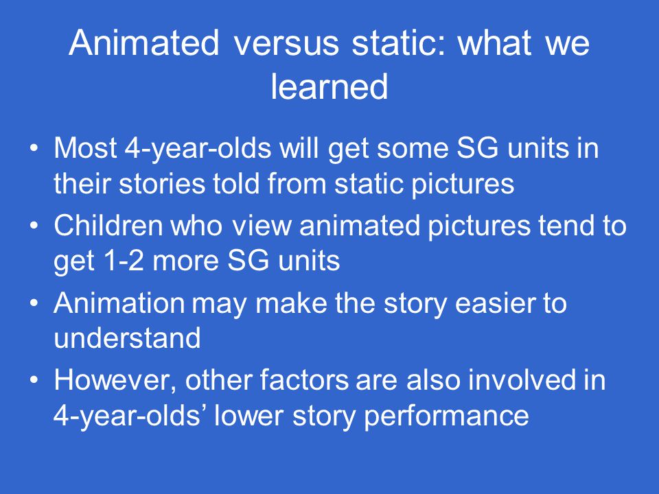 Animated versus static: what we learned