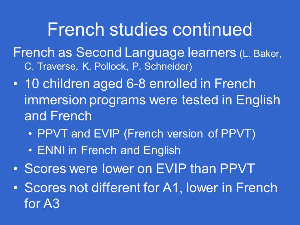 French studies continued