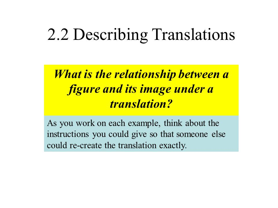 2.2 Describing Translations