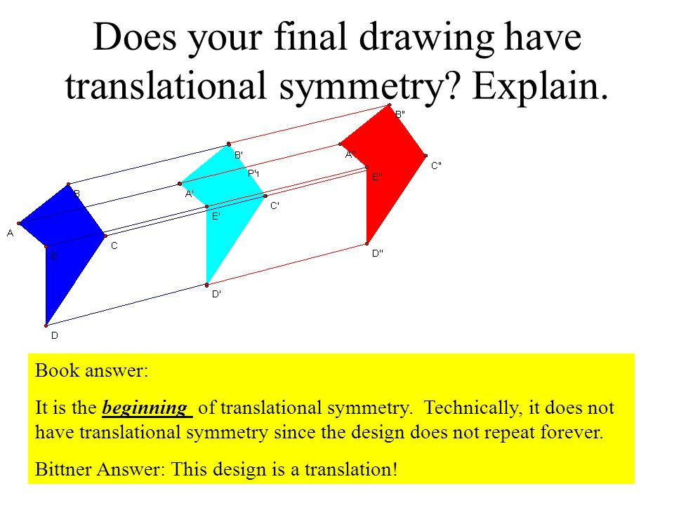 Does your final drawing have translational symmetry Explain.
