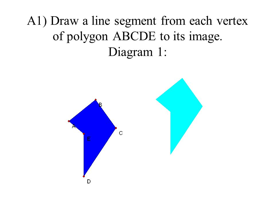 A1) Draw a line segment from each vertex of polygon ABCDE to its image