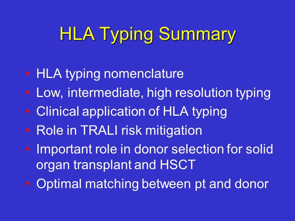 HLA Typing Summary HLA typing nomenclature