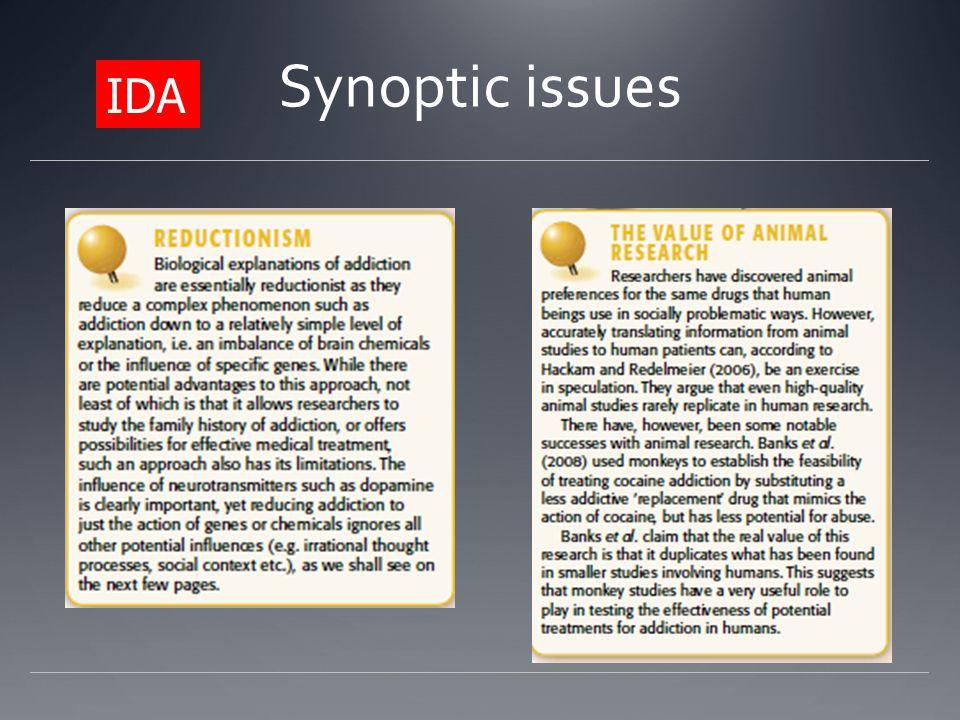 Synoptic issues IDA