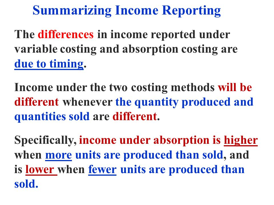Summarizing Income Reporting
