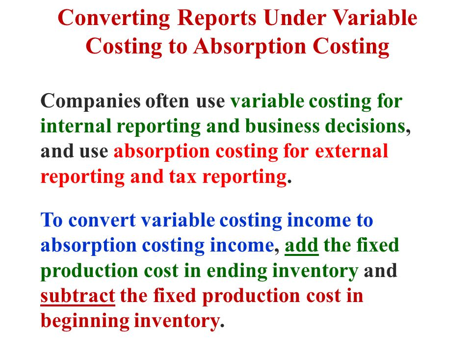 Converting Reports Under Variable Costing to Absorption Costing