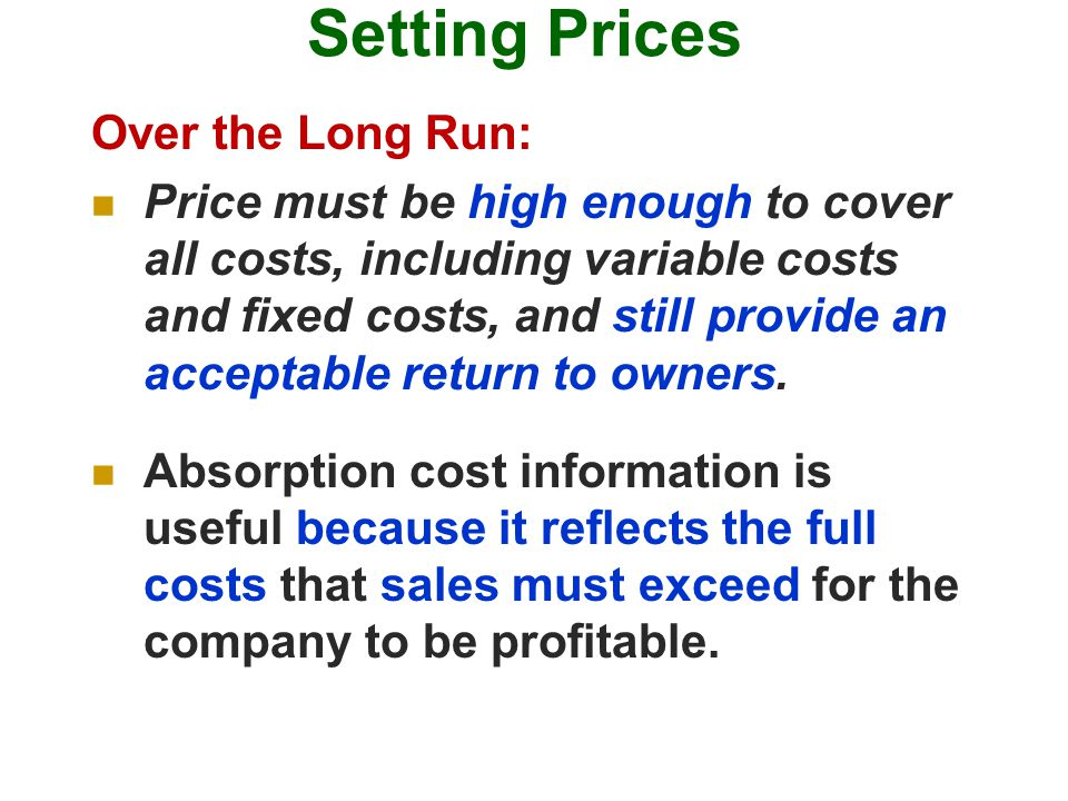 Setting Prices Over the Long Run: