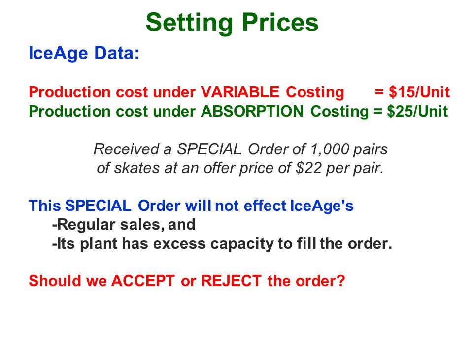Setting Prices IceAge Data: