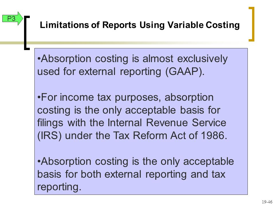 Limitations of Reports Using Variable Costing
