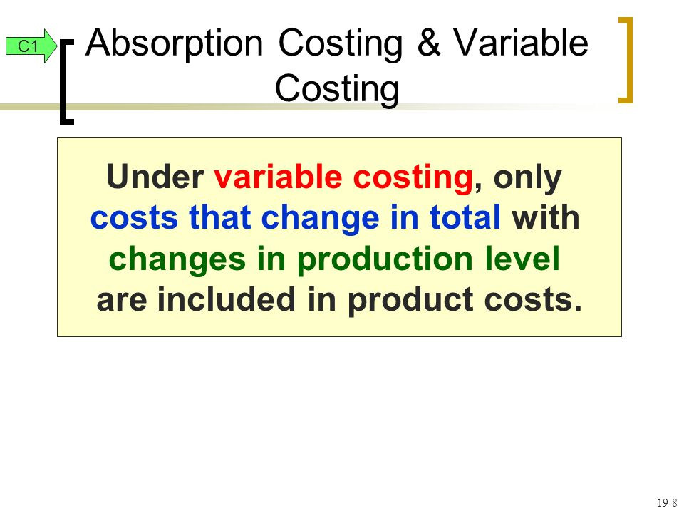 Absorption Costing & Variable Costing