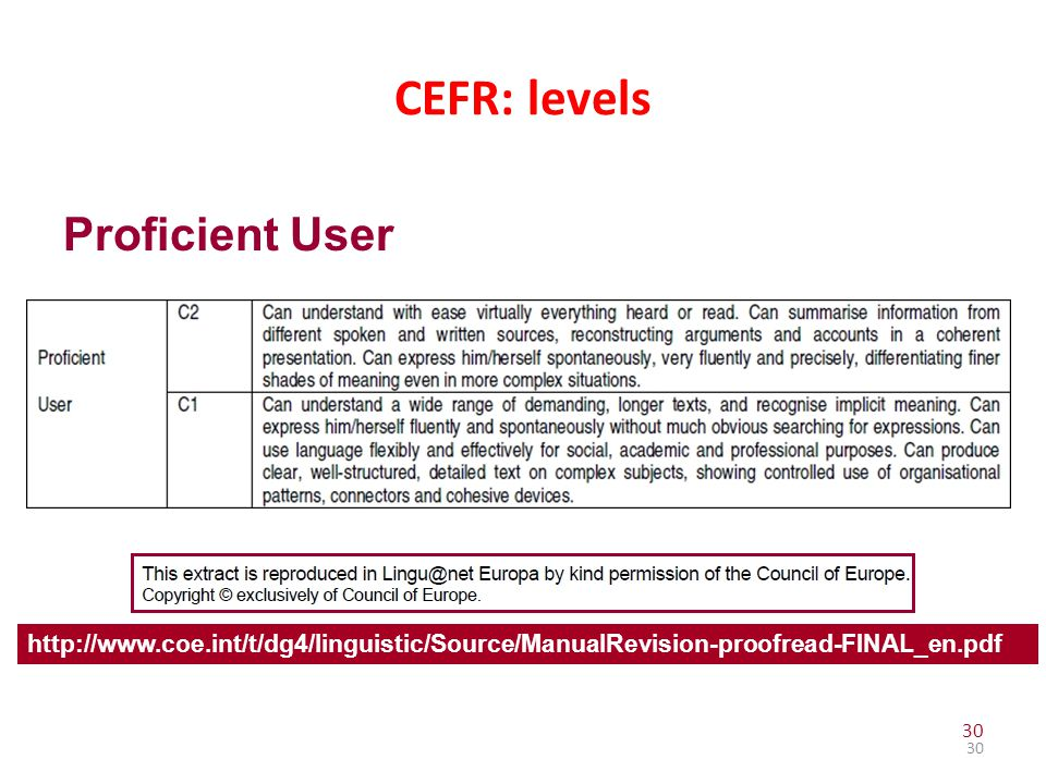 CEFR: levels Proficient User