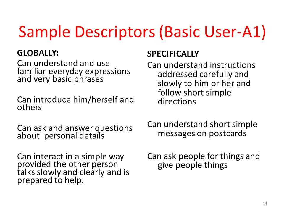 Sample Descriptors (Basic User-A1)