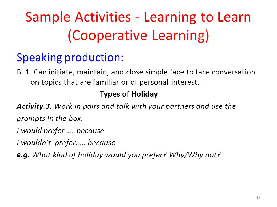 Sample Activities - Learning to Learn (Cooperative Learning)