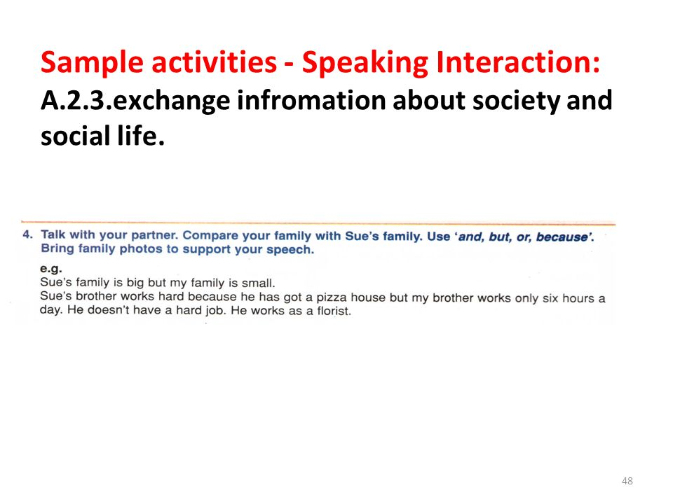 Sample activities - Speaking Interaction: A. 2. 3