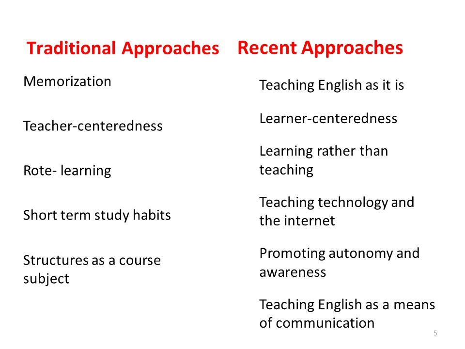 Recent Approaches Traditional Approaches Memorization