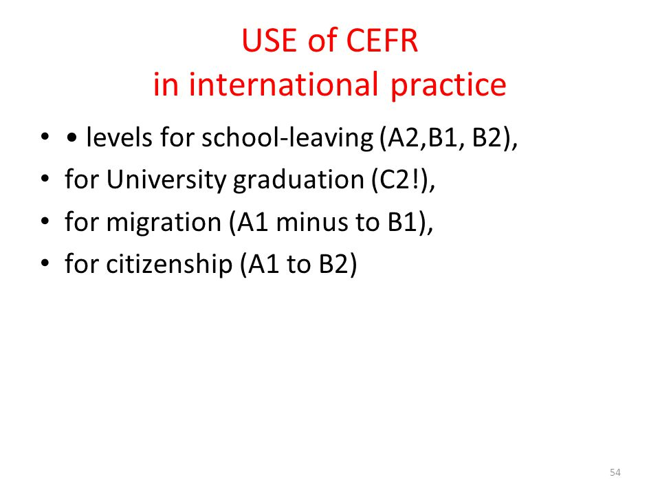 USE of CEFR in international practice