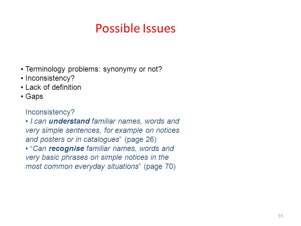 Possible Issues • Terminology problems: synonymy or not