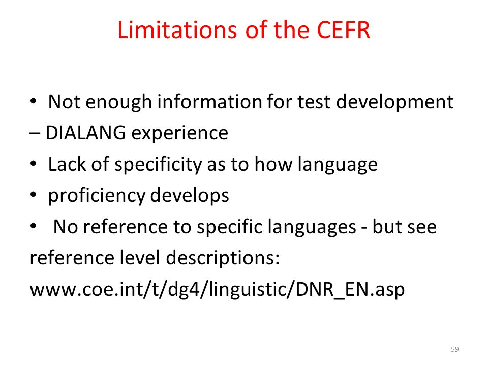 Limitations of the CEFR