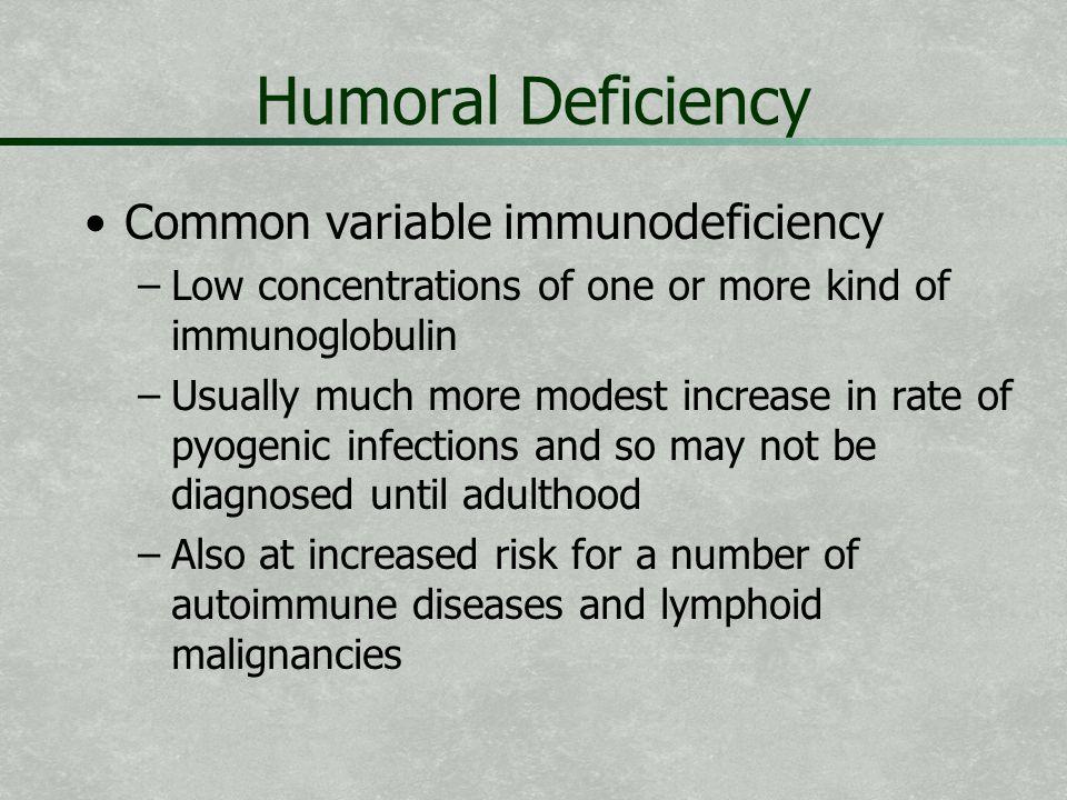 Humoral Deficiency Common variable immunodeficiency