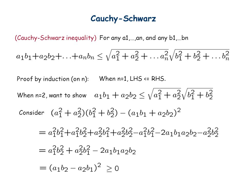 Cauchy-Schwarz (Cauchy-Schwarz inequality) For any a1,…,an, and any b1,…bn. Proof by induction (on n):