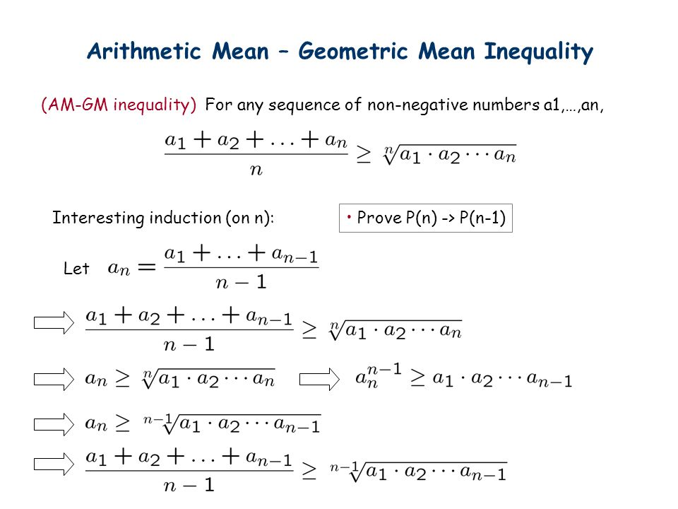 Arithmetic Mean – Geometric Mean Inequality