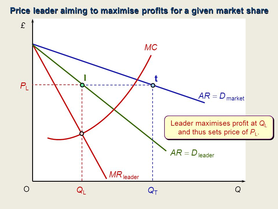 Price leader aiming to maximise profits for a given market share