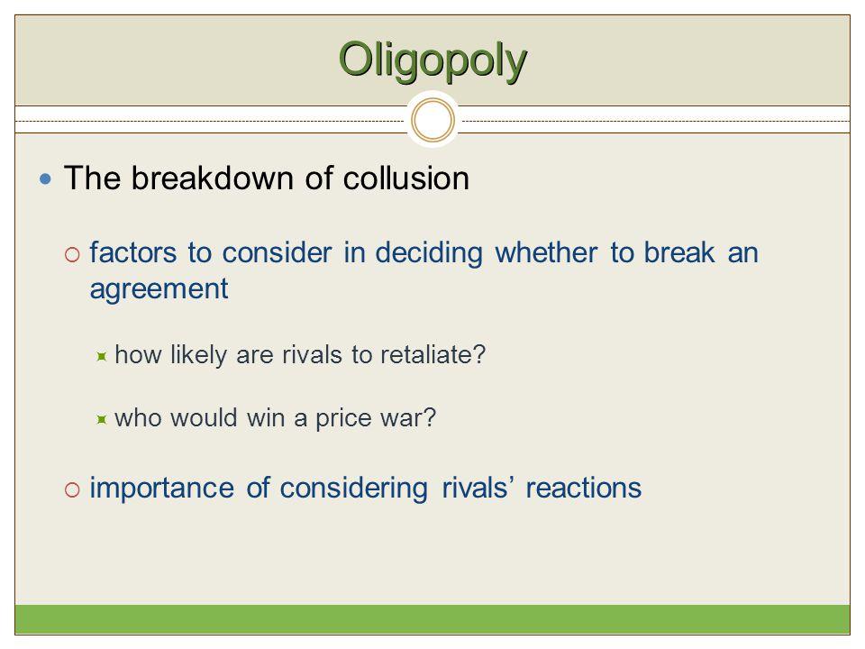 Oligopoly The breakdown of collusion